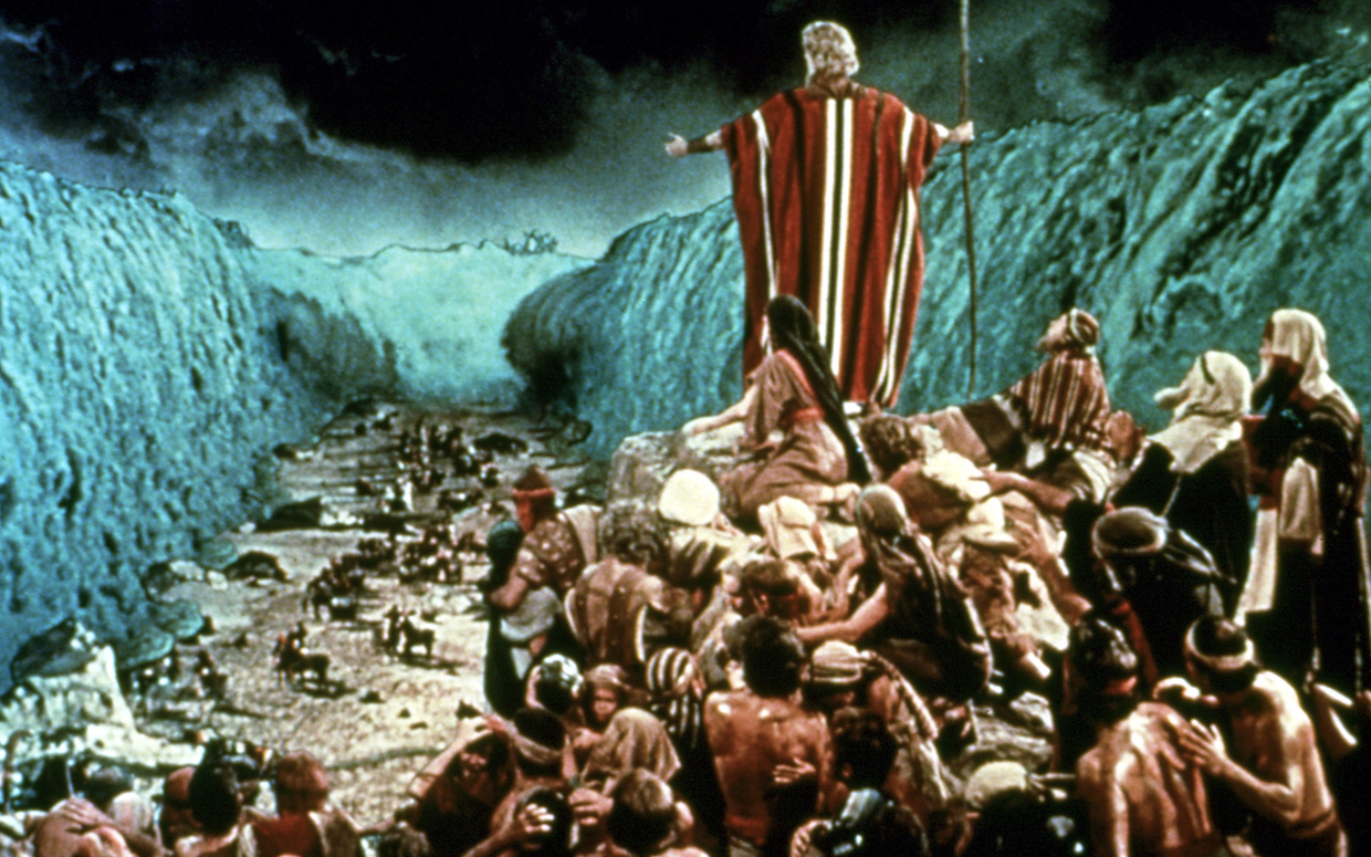 The parting of the Red Sea was considered the most difficult special effect ever performed up to that time. This effect took about six months of VistaVision filming, and combined scenes shot on the shores of the Red Sea in Egypt, with scenes filmed at Paramount Studios in Hollywood of a huge water tank split by a U-shaped trough, into which approximately 360,000 gallons of water were released from the sides, as well as the filming of a giant waterfall also built on the Paramount backlot to create the effect of the walls of the parted sea out of the turbulent backwash. All of the multiple elements of the shot were then combined in Paul Lerpae's optical printer, and matte paintings of rocks by Jan Domela concealed the matte lines between the real elements and the special effects elements.